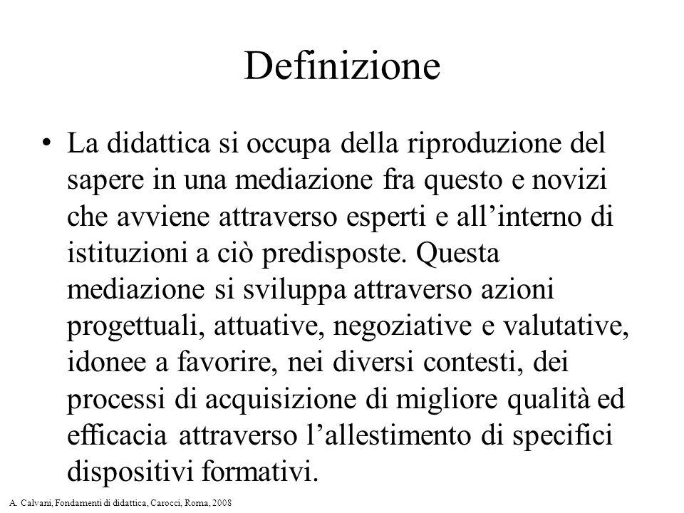 Definizione La didattica si occupa della riproduzione del sapere in una mediazione fra questo e novizi che avviene attraverso esperti e all'interno di istituzioni a ciò predisposte.