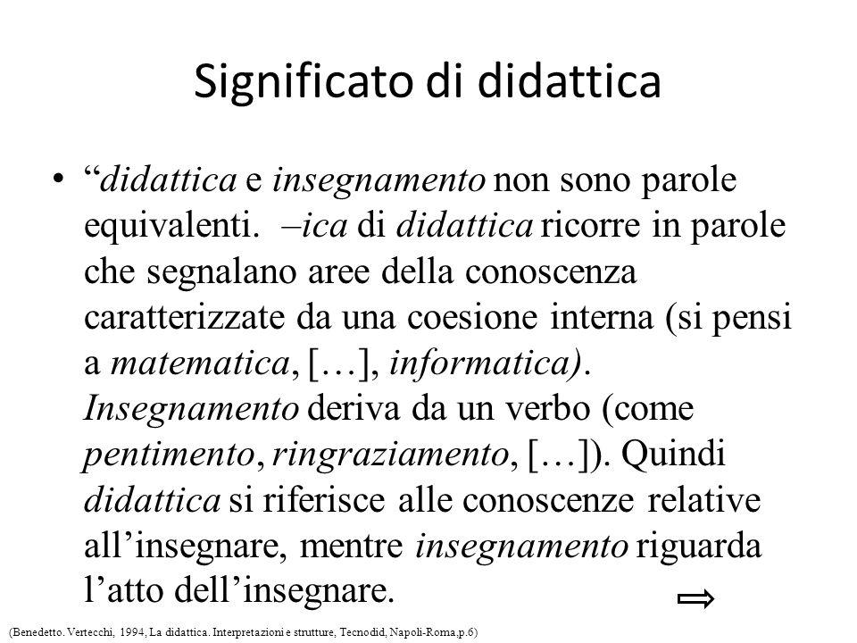 Significato di didattica didattica e insegnamento non sono parole equivalenti.