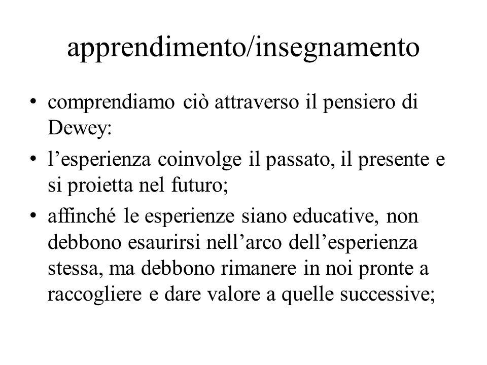 comprendiamo ciò attraverso il pensiero di Dewey: l'esperienza coinvolge il passato, il presente e si proietta nel futuro; affinché le esperienze siano educative, non debbono esaurirsi nell'arco dell'esperienza stessa, ma debbono rimanere in noi pronte a raccogliere e dare valore a quelle successive; apprendimento/insegnamento