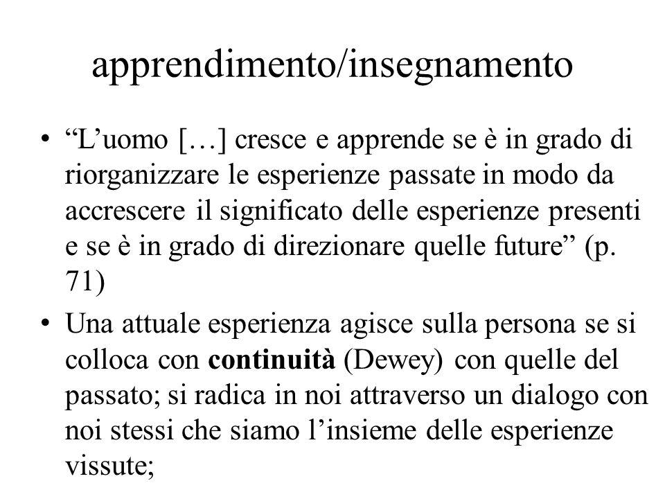 L'uomo […] cresce e apprende se è in grado di riorganizzare le esperienze passate in modo da accrescere il significato delle esperienze presenti e se è in grado di direzionare quelle future (p.