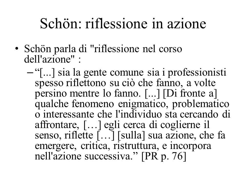 Schön parla di riflessione nel corso dell azione : – [...] sia la gente comune sia i professionisti spesso riflettono su ciò che fanno, a volte persino mentre lo fanno.
