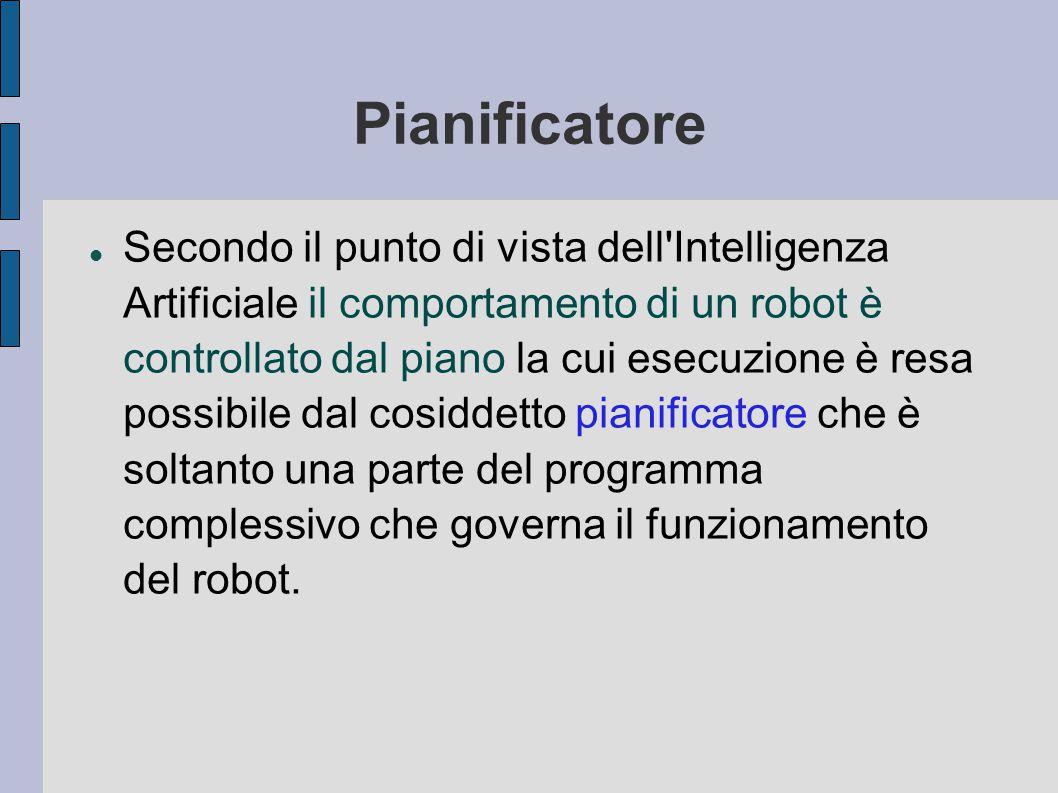 Pianificatore Secondo il punto di vista dell Intelligenza Artificiale il comportamento di un robot è controllato dal piano la cui esecuzione è resa possibile dal cosiddetto pianificatore che è soltanto una parte del programma complessivo che governa il funzionamento del robot.