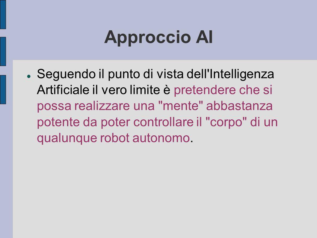 Approccio AI Seguendo il punto di vista dell Intelligenza Artificiale il vero limite è pretendere che si possa realizzare una mente abbastanza potente da poter controllare il corpo di un qualunque robot autonomo.