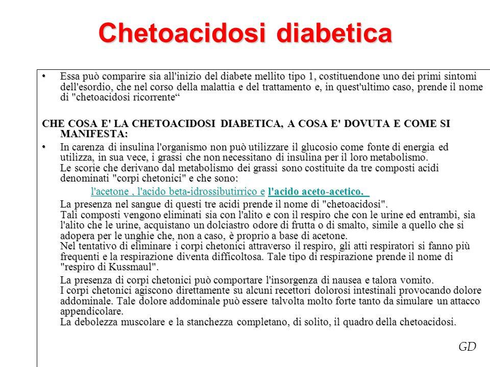 Chetoacidosi diabetica Essa può comparire sia all'inizio del diabete mellito tipo 1, costituendone uno dei primi sintomi dell'esordio, che nel corso d