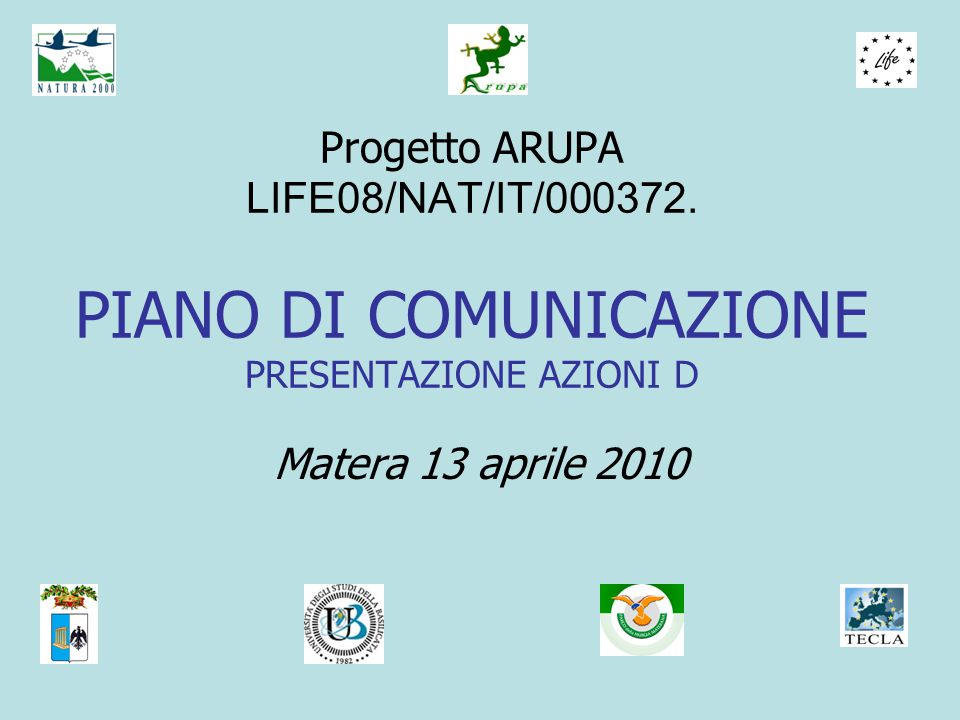Progetto ARUPA LIFE08/NAT/IT/000372.