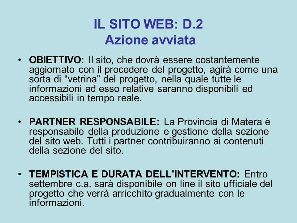 IL SITO WEB: D.2 Azione avviata OBIETTIVO: Il sito, che dovrà essere costantemente aggiornato con il procedere del progetto, agirà come una sorta di vetrina del progetto, nella quale tutte le informazioni ad esso relative saranno disponibili ed accessibili in tempo reale.