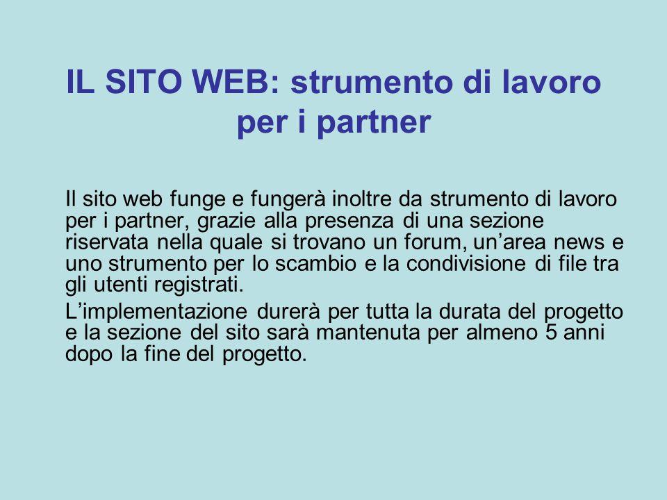 IL SITO WEB: strumento di lavoro per i partner Il sito web funge e fungerà inoltre da strumento di lavoro per i partner, grazie alla presenza di una sezione riservata nella quale si trovano un forum, un'area news e uno strumento per lo scambio e la condivisione di file tra gli utenti registrati.