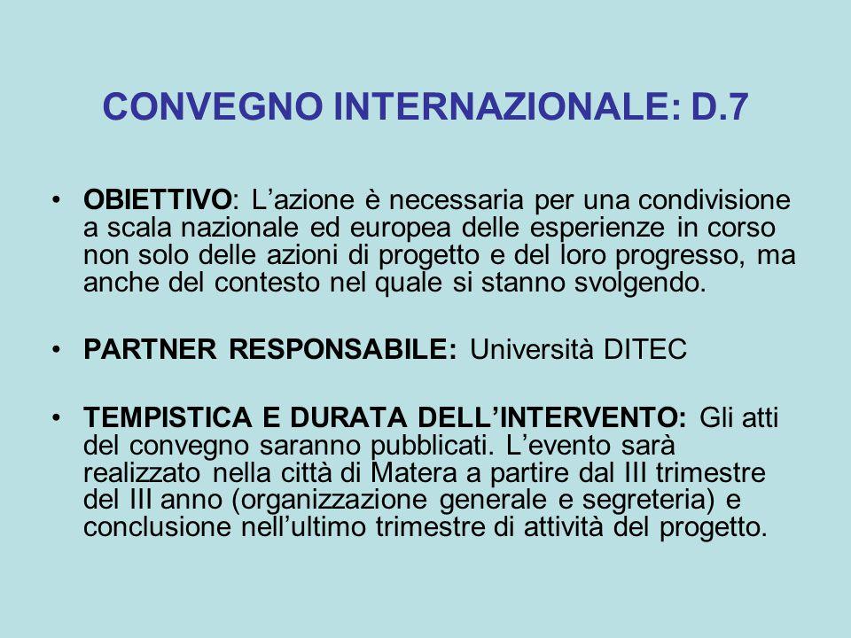 CONVEGNO INTERNAZIONALE: D.7 OBIETTIVO: L'azione è necessaria per una condivisione a scala nazionale ed europea delle esperienze in corso non solo delle azioni di progetto e del loro progresso, ma anche del contesto nel quale si stanno svolgendo.