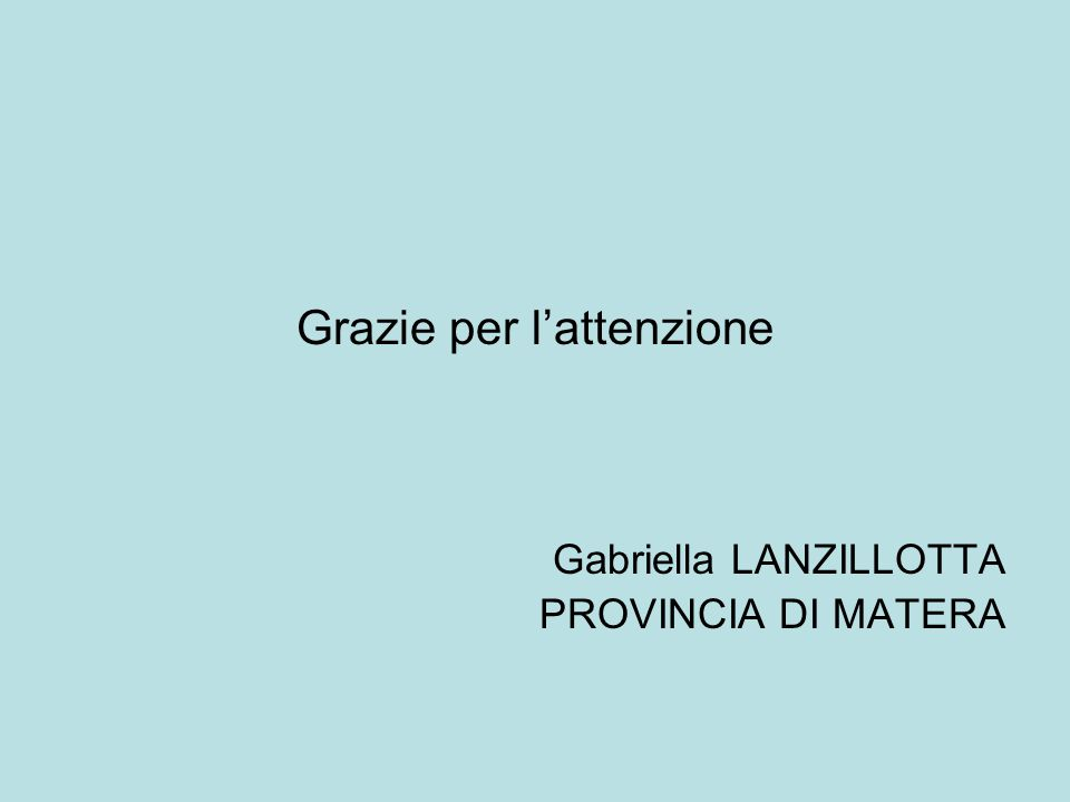 Grazie per l'attenzione Gabriella LANZILLOTTA PROVINCIA DI MATERA