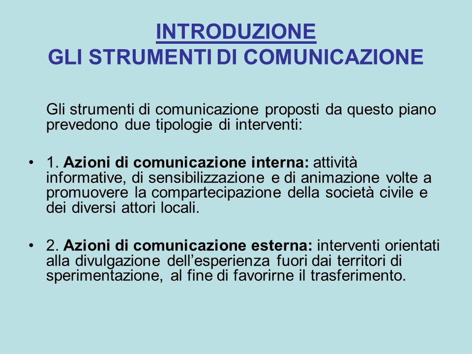 INTRODUZIONE GLI STRUMENTI DI COMUNICAZIONE Gli strumenti di comunicazione proposti da questo piano prevedono due tipologie di interventi: 1.