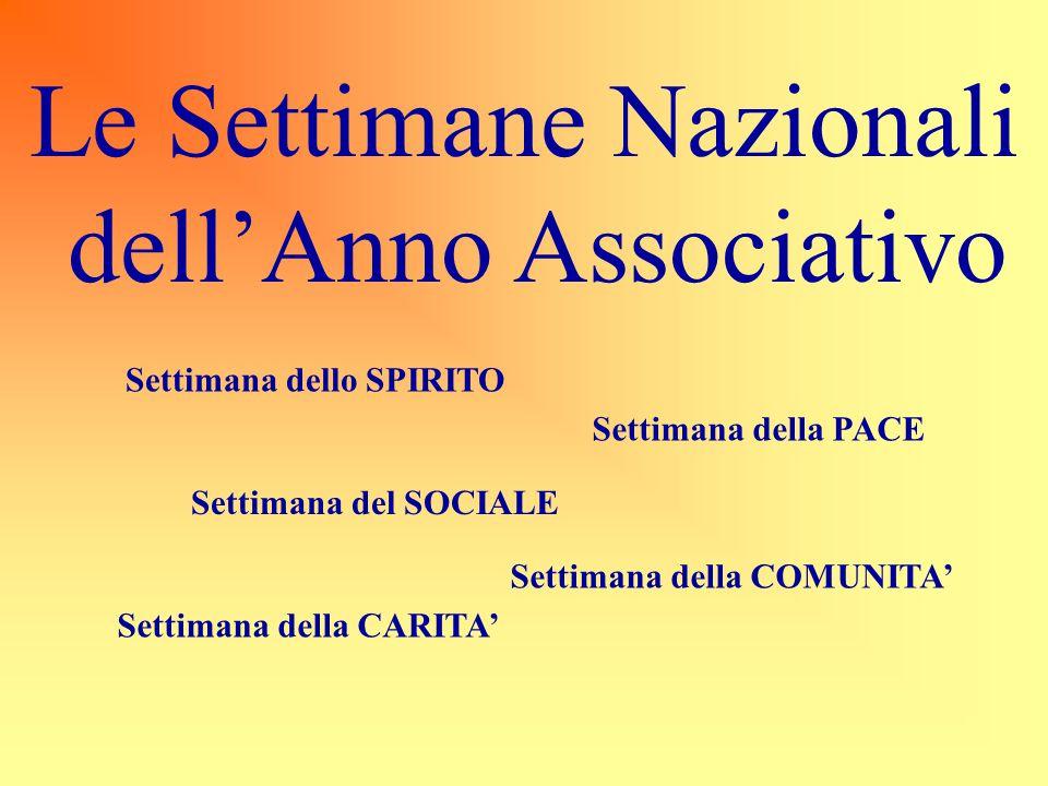 Le Settimane Nazionali dell'Anno Associativo Settimana dello SPIRITO Settimana della PACE Settimana del SOCIALE Settimana della COMUNITA' Settimana de