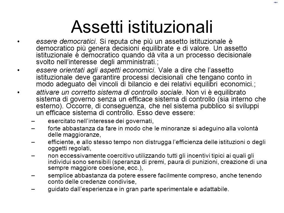 m&m Assetti istituzionali essere democratici.