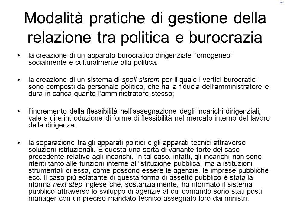 """m&m Modalità pratiche di gestione della relazione tra politica e burocrazia la creazione di un apparato burocratico dirigenziale """"omogeneo"""" socialment"""