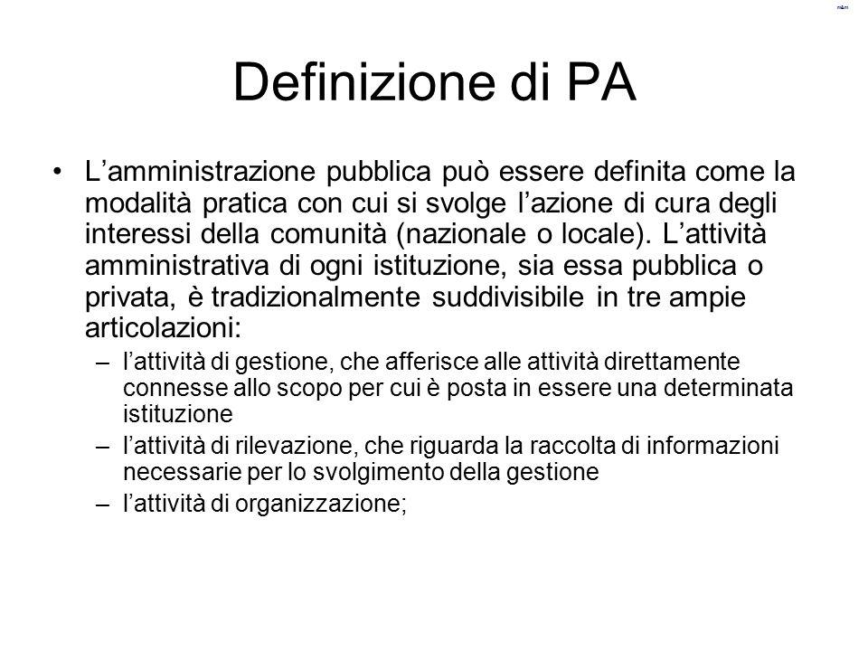 m&m Definizione di PA L'amministrazione pubblica può essere definita come la modalità pratica con cui si svolge l'azione di cura degli interessi della