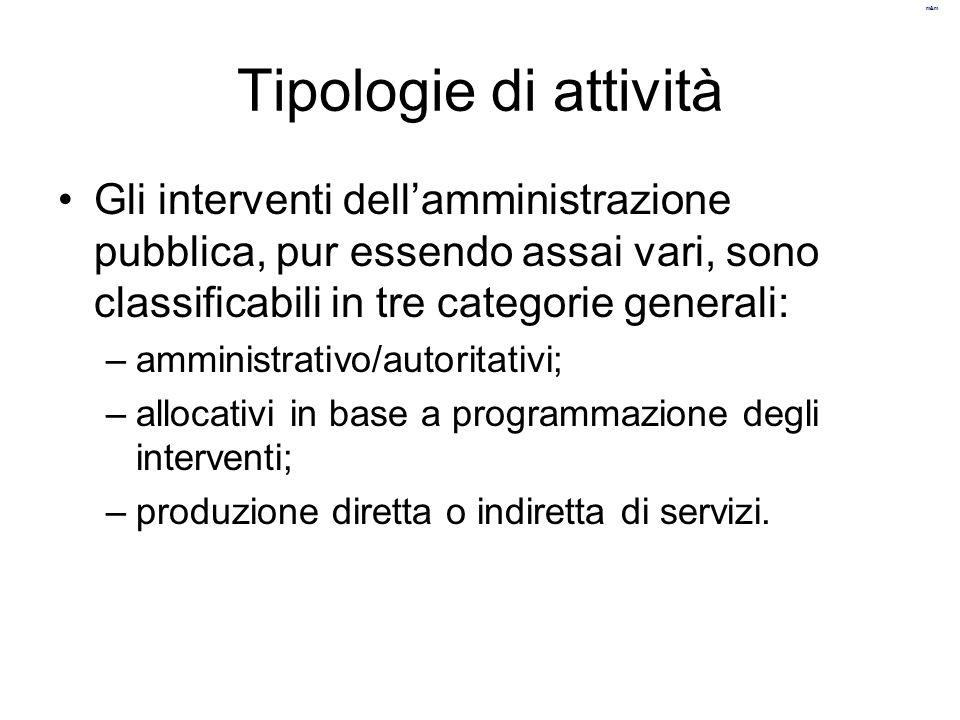 m&m Tipologie di attività Gli interventi dell'amministrazione pubblica, pur essendo assai vari, sono classificabili in tre categorie generali: –ammini