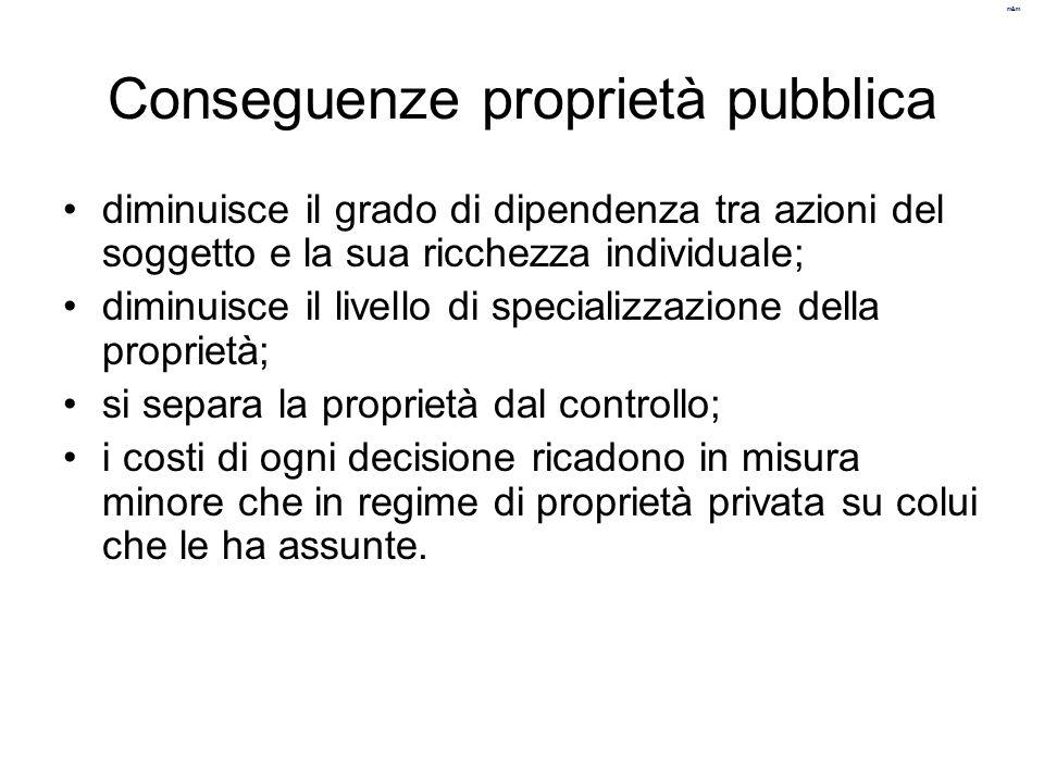 m&m Conseguenze proprietà pubblica diminuisce il grado di dipendenza tra azioni del soggetto e la sua ricchezza individuale; diminuisce il livello di