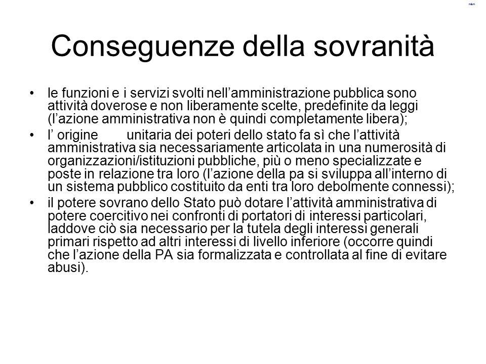 m&m Conseguenze della sovranità le funzioni e i servizi svolti nell'amministrazione pubblica sono attività doverose e non liberamente scelte, predefin