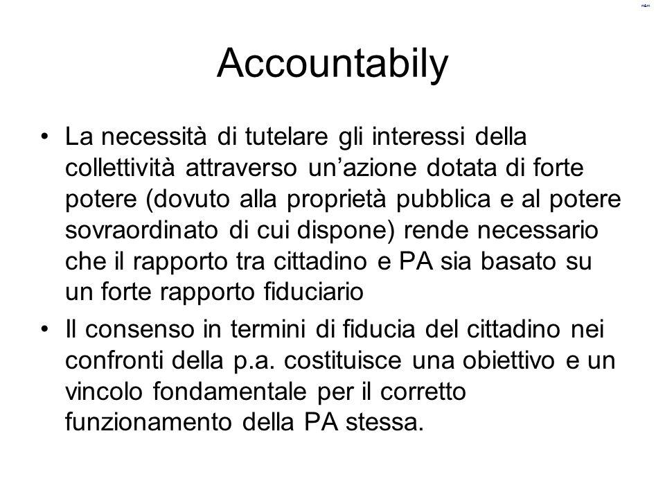 m&m accountability Per rispettare la caratteristica di essere accountable la pa deve essere: –Trasparente –Rendicontare tutto ciò che fa –Fare partecipare il più possibile i cittadini