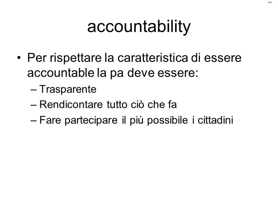 m&m accountability Per rispettare la caratteristica di essere accountable la pa deve essere: –Trasparente –Rendicontare tutto ciò che fa –Fare parteci