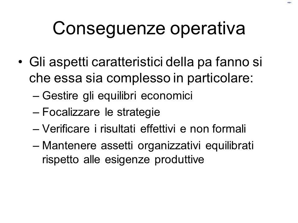 m&m Conseguenze operativa Gli aspetti caratteristici della pa fanno si che essa sia complesso in particolare: –Gestire gli equilibri economici –Focali