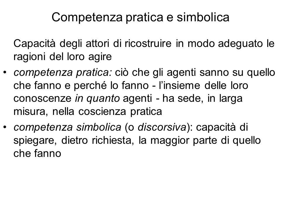 Competenza pratica e simbolica Capacità degli attori di ricostruire in modo adeguato le ragioni del loro agire competenza pratica: ciò che gli agenti