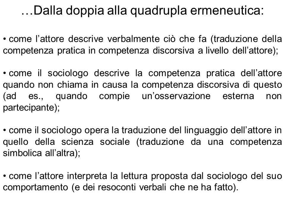…Dalla doppia alla quadrupla ermeneutica: come l'attore descrive verbalmente ciò che fa (traduzione della competenza pratica in competenza discorsiva