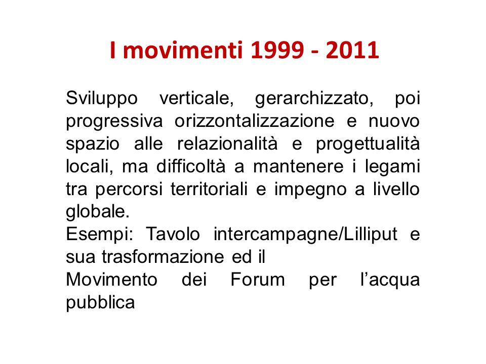 I movimenti 1999 - 2011 Sviluppo verticale, gerarchizzato, poi progressiva orizzontalizzazione e nuovo spazio alle relazionalità e progettualità locali, ma difficoltà a mantenere i legami tra percorsi territoriali e impegno a livello globale.