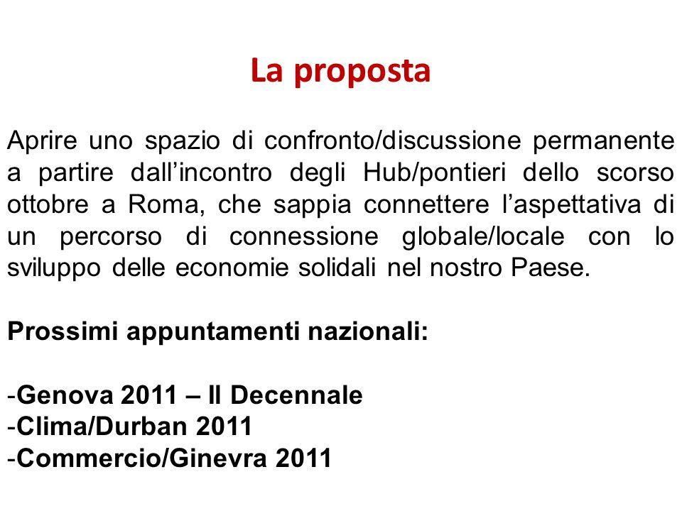 La proposta Aprire uno spazio di confronto/discussione permanente a partire dall'incontro degli Hub/pontieri dello scorso ottobre a Roma, che sappia connettere l'aspettativa di un percorso di connessione globale/locale con lo sviluppo delle economie solidali nel nostro Paese.