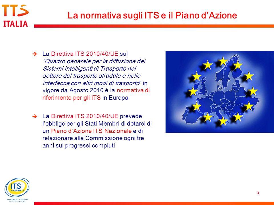 3  La Direttiva ITS 2010/40/UE sul Quadro generale per la diffusione dei Sistemi Intelligenti di Trasporto nel settore del trasporto stradale e nelle interfacce con altri modi di trasporto in vigore da Agosto 2010 è la normativa di riferimento per gli ITS in Europa  La Direttiva ITS 2010/40/UE prevede l'obbligo per gli Stati Membri di dotarsi di un Piano d'Azione ITS Nazionale e di relazionare alla Commissione ogni tre anni sui progressi compiuti La normativa sugli ITS e il Piano d'Azione