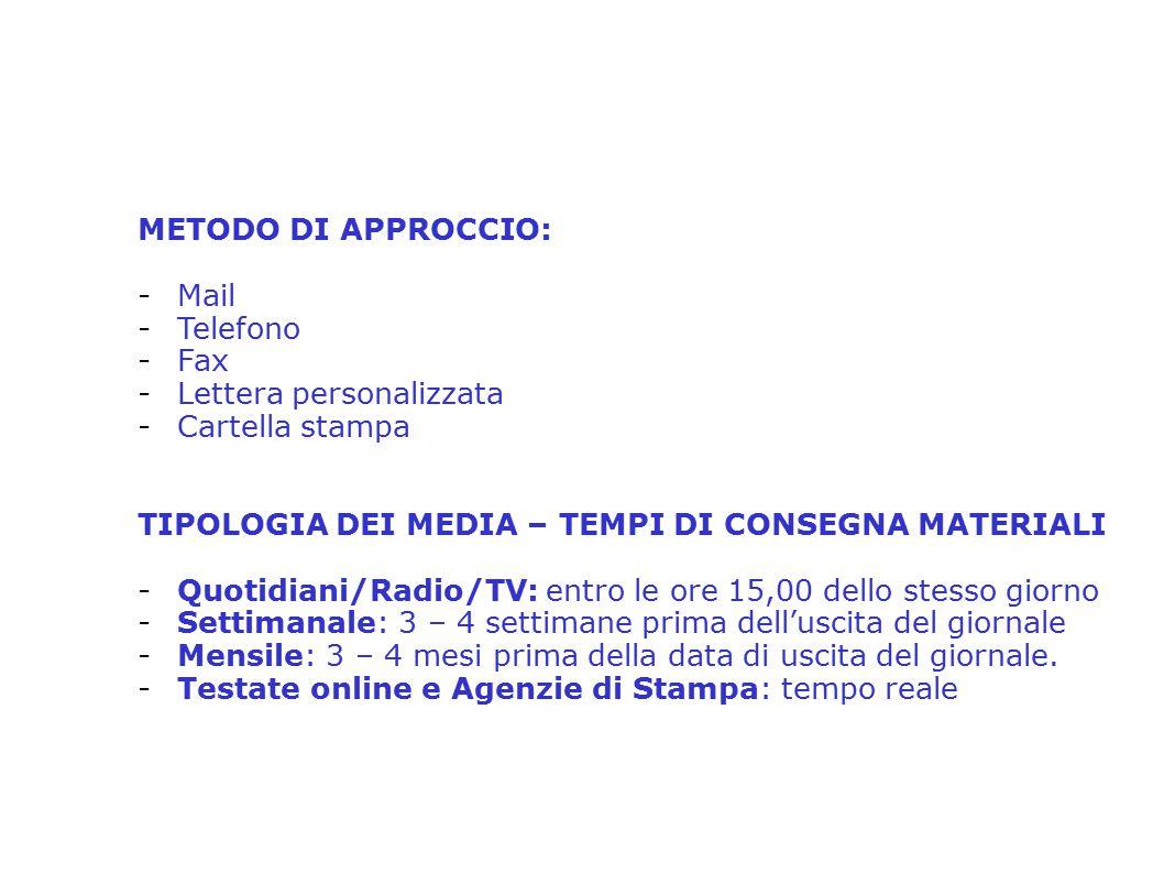2° Seminario Distrettuale sulla Comunicazione e PR – Distretto 2080 Relatore: Anna Tina Mirra METODO DI APPROCCIO: -Mail -Telefono -Fax -Lettera perso