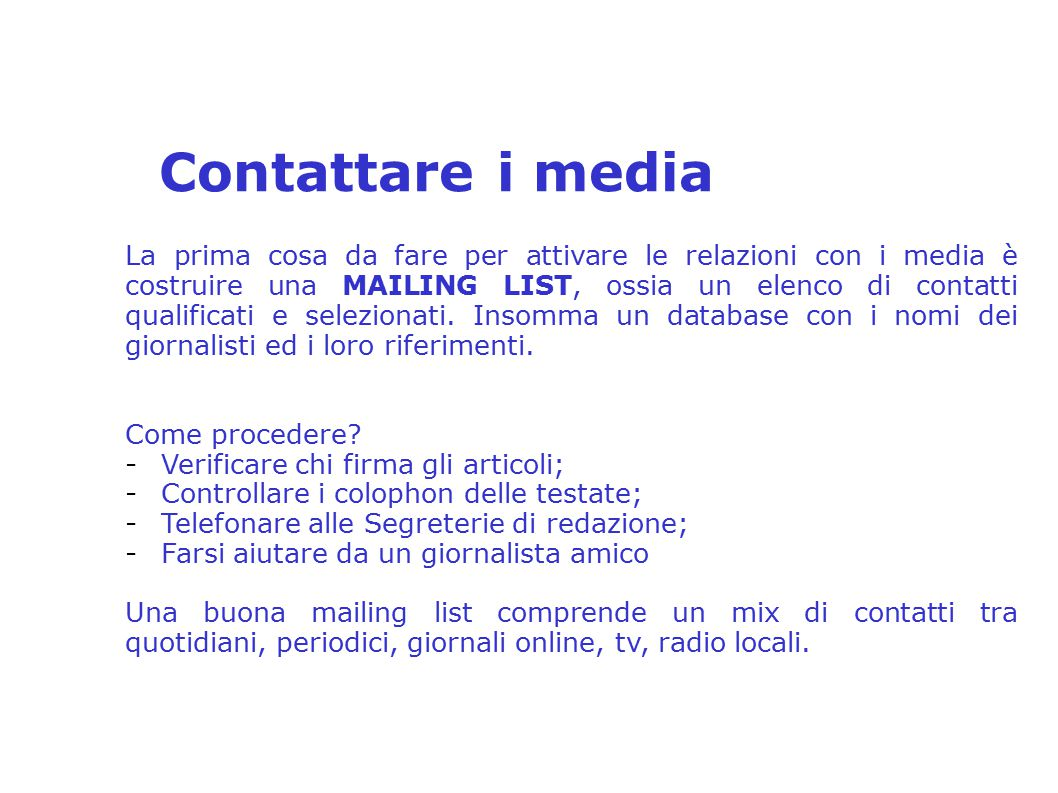 Contattare i media 2° Seminario Distrettuale sulla Comunicazione e PR – Distretto 2080 relatore: Anna Tina Mirra 2° Seminario Distrettuale sulla Comun