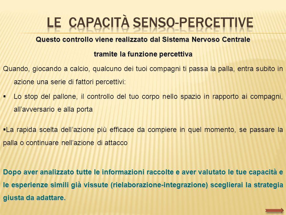 Questo controllo viene realizzato dal Sistema Nervoso Centrale tramite la funzione percettiva Quando, giocando a calcio, qualcuno dei tuoi compagni ti