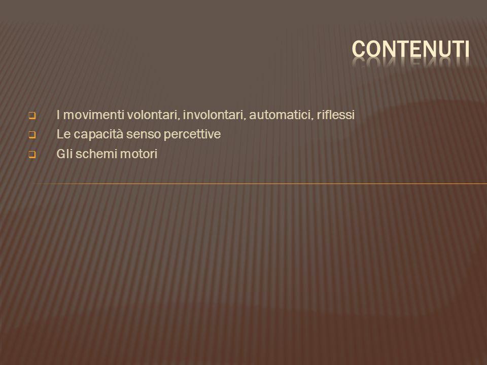  I movimenti volontari, involontari, automatici, riflessi  Le capacità senso percettive  Gli schemi motori