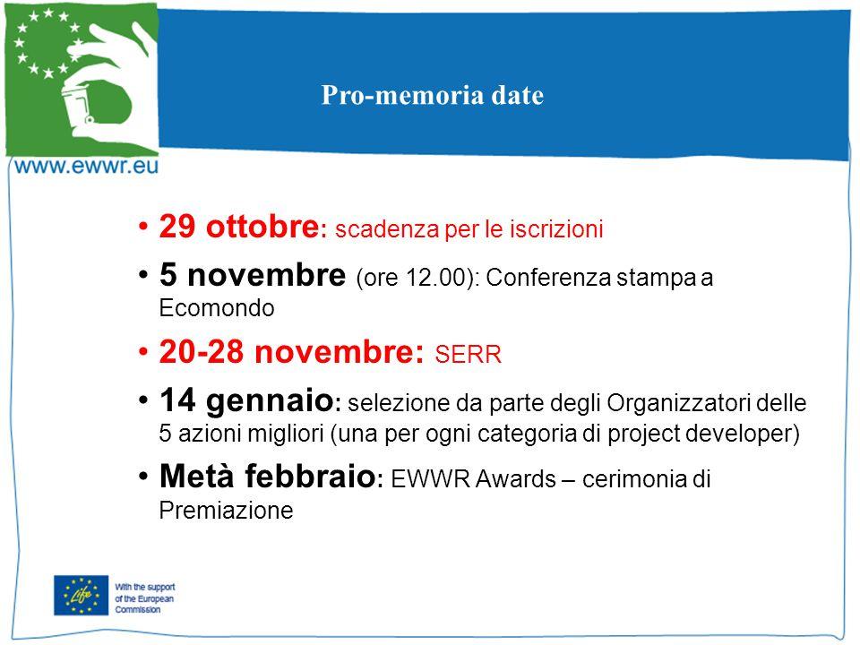 29 ottobre : scadenza per le iscrizioni 5 novembre (ore 12.00): Conferenza stampa a Ecomondo 20-28 novembre: SERR 14 gennaio : selezione da parte degli Organizzatori delle 5 azioni migliori (una per ogni categoria di project developer) Metà febbraio : EWWR Awards – cerimonia di Premiazione Pro-memoria date