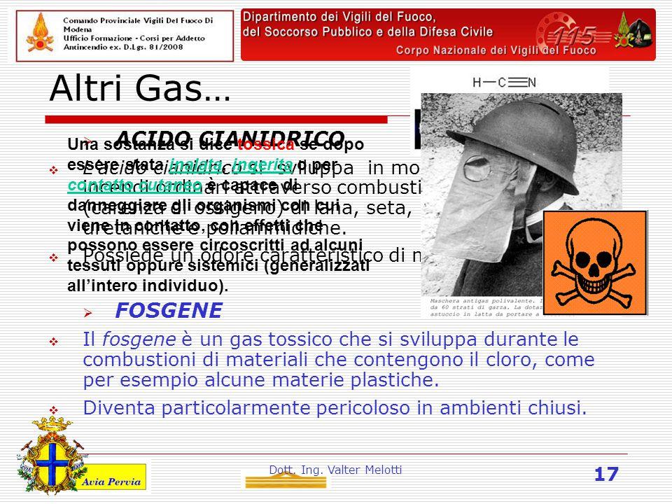 Dott. Ing. Valter Melotti 17 Altri Gas…  ACIDO CIANIDRICO  L'acido cianidrico si sviluppa in modesta quantità in incendi ordinari attraverso combust
