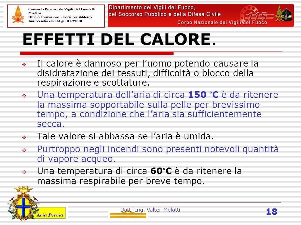 Dott. Ing. Valter Melotti 18 EFFETTI DEL CALORE.