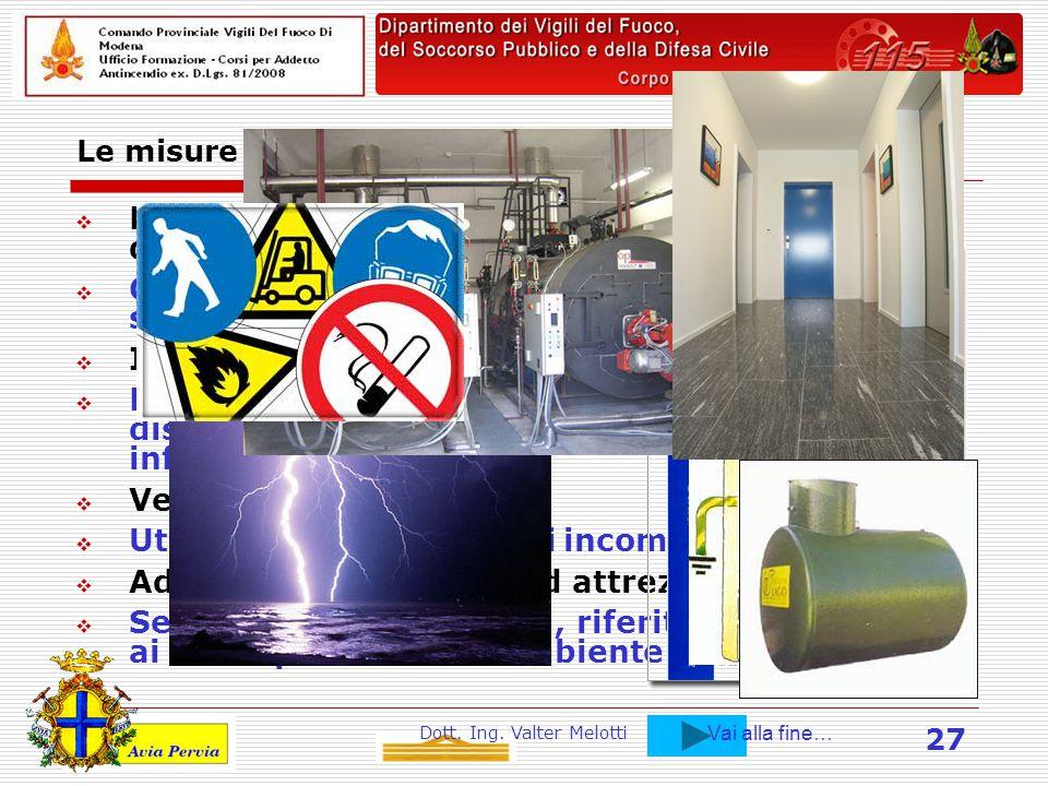 Dott. Ing. Valter Melotti 27 Le misure di prevenzione incendi propriamente detta.  Realizzazione di impianti elettrici a regola d'arte. (Norme CEI).