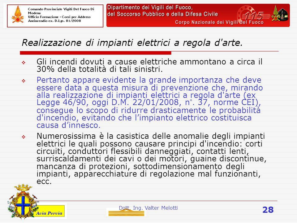 Dott. Ing. Valter Melotti 28 Realizzazione di impianti elettrici a regola d arte.