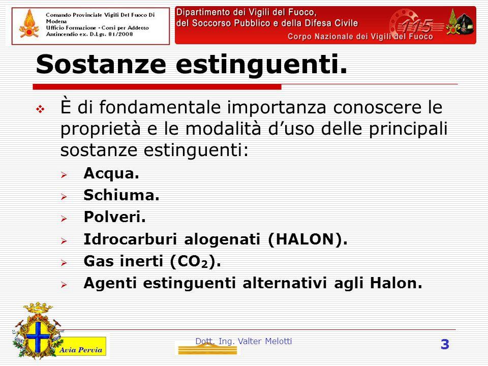 Dott. Ing. Valter Melotti 3 Sostanze estinguenti.  È di fondamentale importanza conoscere le proprietà e le modalità d'uso delle principali sostanze