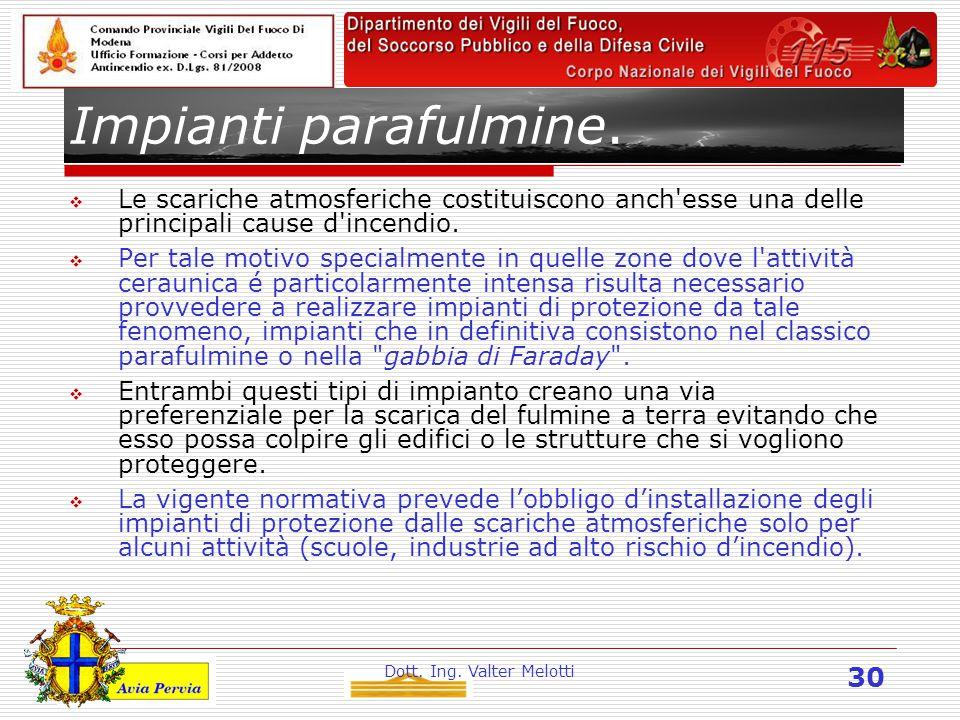 Dott. Ing. Valter Melotti 30 Impianti parafulmine.  Le scariche atmosferiche costituiscono anch'esse una delle principali cause d'incendio.  Per tal