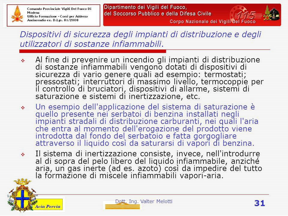 Dott. Ing. Valter Melotti 31 Dispositivi di sicurezza degli impianti di distribuzione e degli utilizzatori di sostanze infiammabili.  Al fine di prev