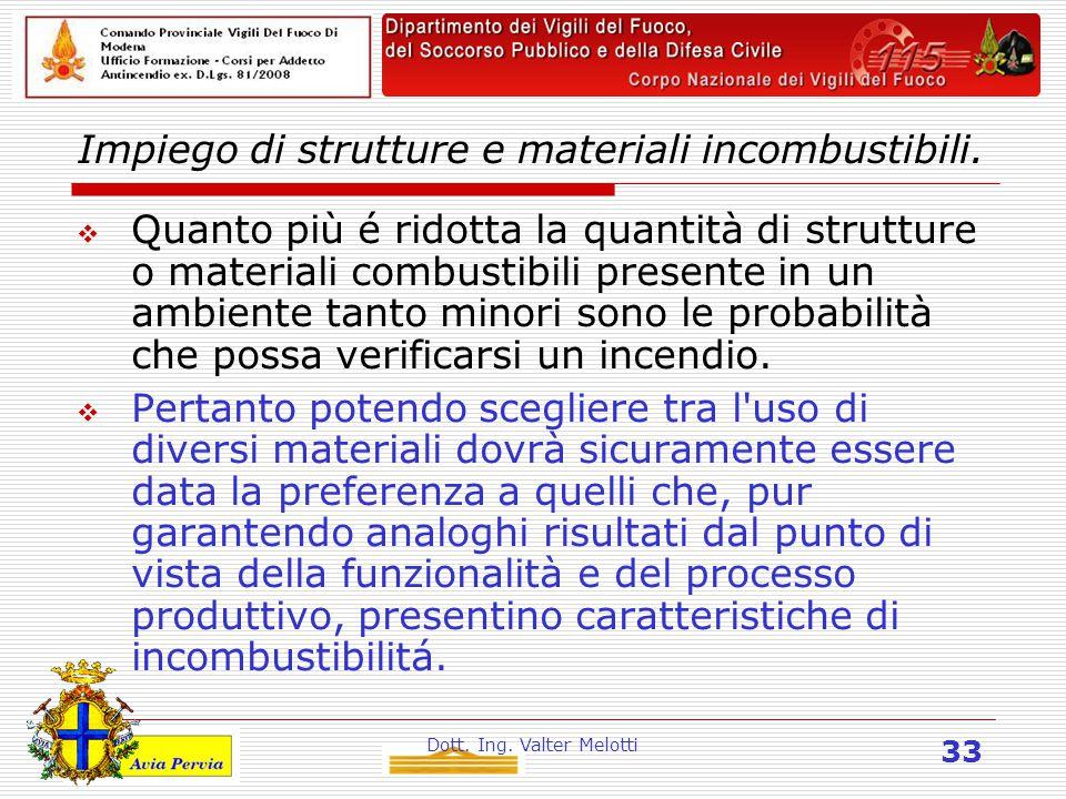 Dott. Ing. Valter Melotti 33 Impiego di strutture e materiali incombustibili.  Quanto più é ridotta la quantità di strutture o materiali combustibili