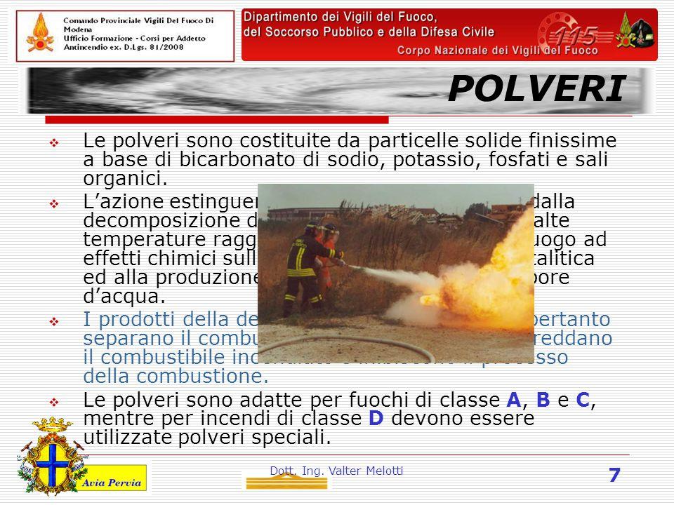 Dott. Ing. Valter Melotti 7 POLVERI  Le polveri sono costituite da particelle solide finissime a base di bicarbonato di sodio, potassio, fosfati e sa