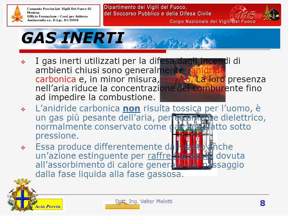 Dott. Ing. Valter Melotti 8 GAS INERTI  I gas inerti utilizzati per la difesa dagli incendi di ambienti chiusi sono generalmente l'anidride carbonica