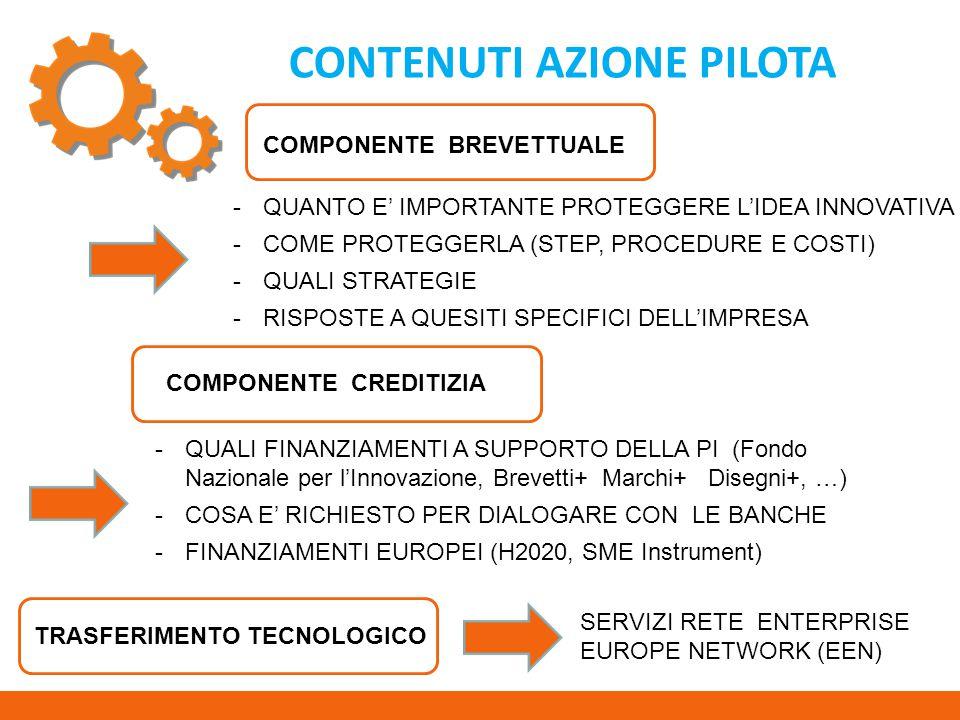 CONTENUTI AZIONE PILOTA -QUANTO E' IMPORTANTE PROTEGGERE L'IDEA INNOVATIVA -COME PROTEGGERLA (STEP, PROCEDURE E COSTI) -QUALI STRATEGIE -RISPOSTE A QUESITI SPECIFICI DELL'IMPRESA -QUALI FINANZIAMENTI A SUPPORTO DELLA PI (Fondo Nazionale per l'Innovazione, Brevetti+ Marchi+ Disegni+, …) -COSA E' RICHIESTO PER DIALOGARE CON LE BANCHE -FINANZIAMENTI EUROPEI (H2020, SME Instrument) COMPONENTE BREVETTUALE COMPONENTE CREDITIZIA TRASFERIMENTO TECNOLOGICO SERVIZI RETE ENTERPRISE EUROPE NETWORK (EEN)
