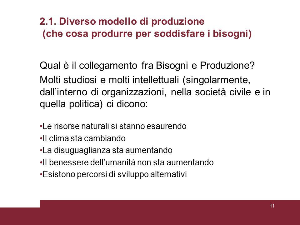 2.1. Diverso modello di produzione (che cosa produrre per soddisfare i bisogni) Qual è il collegamento fra Bisogni e Produzione? Molti studiosi e molt