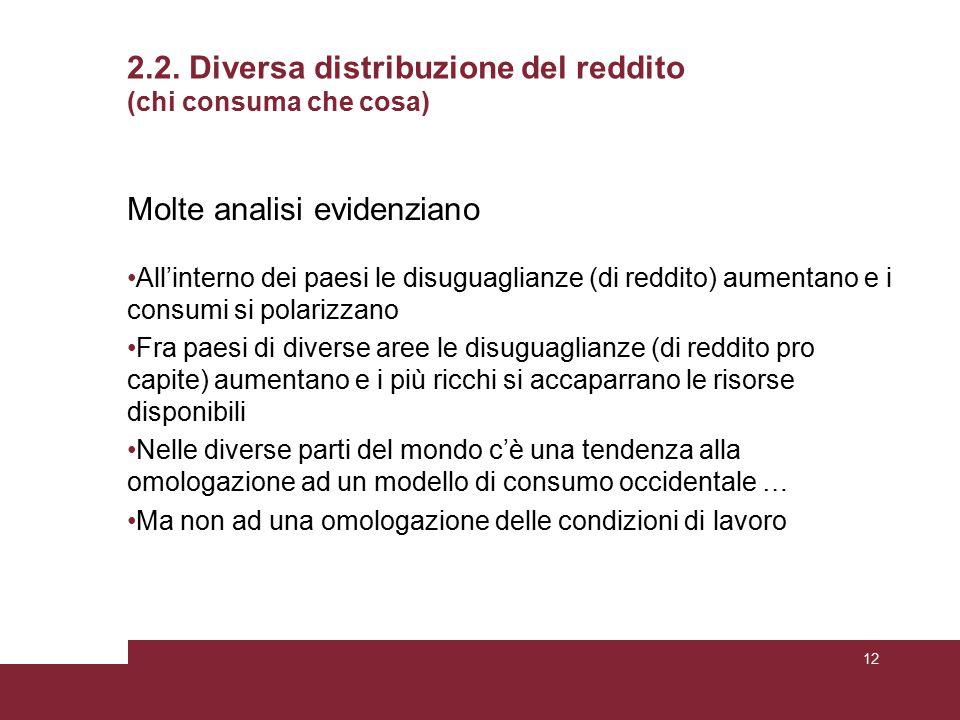 2.2. Diversa distribuzione del reddito (chi consuma che cosa) Molte analisi evidenziano All'interno dei paesi le disuguaglianze (di reddito) aumentano