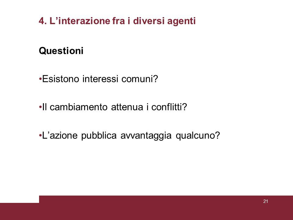 4. L'interazione fra i diversi agenti Questioni Esistono interessi comuni.
