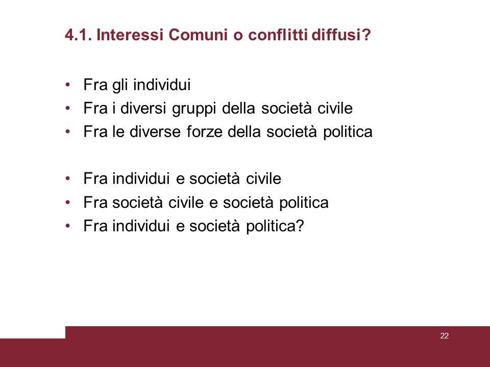 4.1. Interessi Comuni o conflitti diffusi.