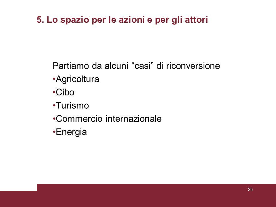 """5. Lo spazio per le azioni e per gli attori Partiamo da alcuni """"casi"""" di riconversione Agricoltura Cibo Turismo Commercio internazionale Energia 25"""